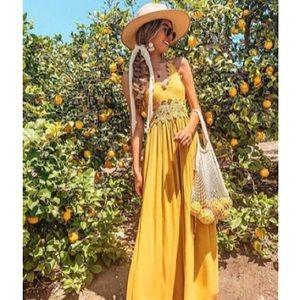 Women's spring/summer cute yellow maxi dress S 🌻